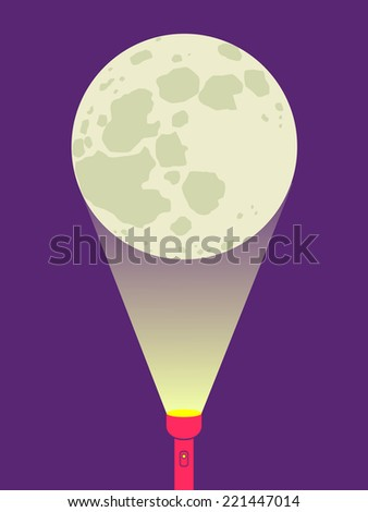 Illustration of a flashlight and moon - stock vector