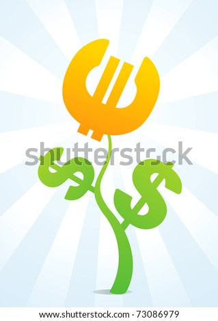 Illustration of a flower consisting of the characters dollar and the euro - stock vector