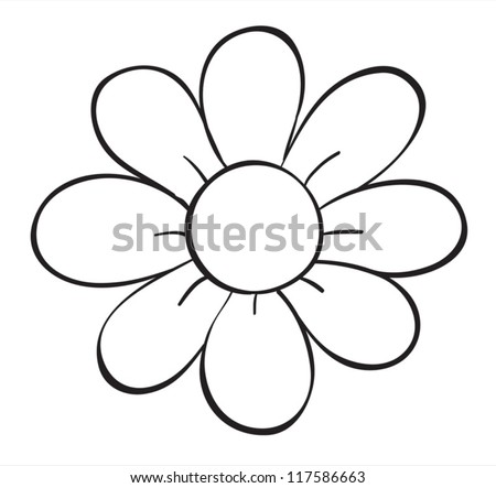 illustration of a flower sketch on white background - Simple Outline Pictures