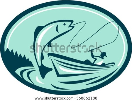 Illustration of a fly fisherman fishing on boat reeling a trout salmon fish set inside oval shape done in retro style. - stock vector