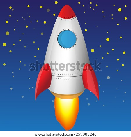 Illustration of a flying rocket in the starry sky - stock vector