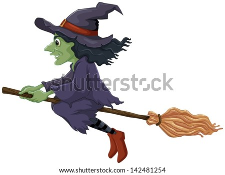 Illustration of a flying witch on a white background - stock vector