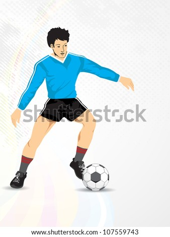 Illustration of a football player with shiny soccer ball  on grey background. EPS 10.