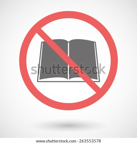 Illustration of a forbidden signal with a book - stock vector