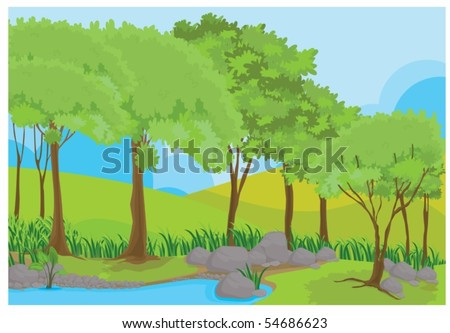 Illustration of a forest on colorful background