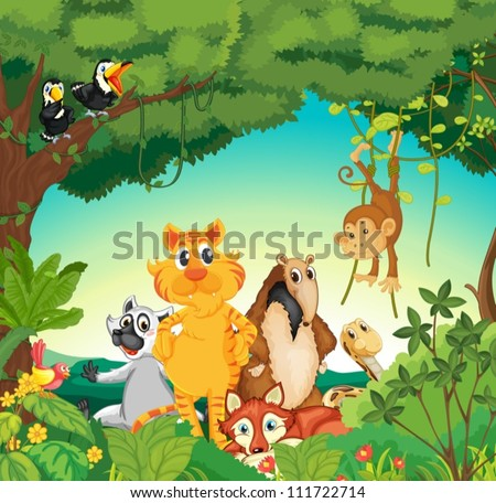 Illustration of a forest scene with different animals - stock vector