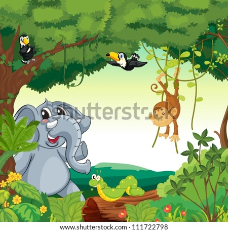 Cartoon Jungle Scene Illustration of a forest scene