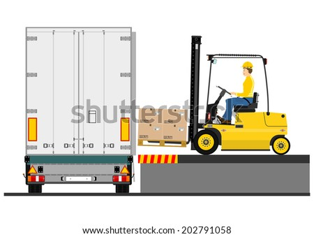 Illustration of a forklift truck during loading the trailer. Vector  - stock vector