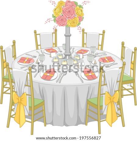 Formal Dining Room Tables Clip Art