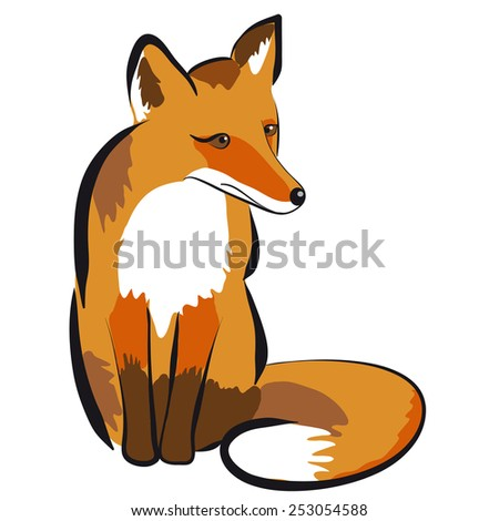 Illustration of a fox. Isolated on white - stock vector
