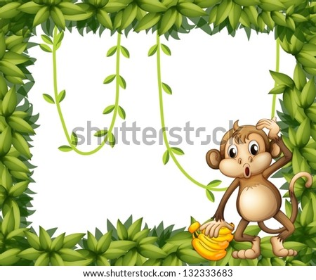 Illustration of a frame of leaves with a monkey and bananas