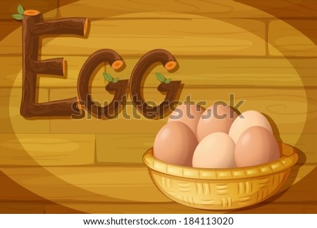 Illustration of a frame with a basket of eggs - stock vector