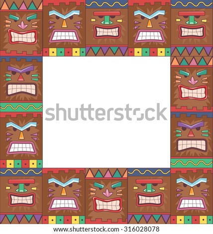 Illustration of a Frame with a Tiki Mask Pattern - stock vector