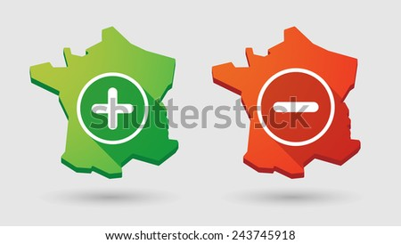 Illustration of a France map        math sign icon set - stock vector