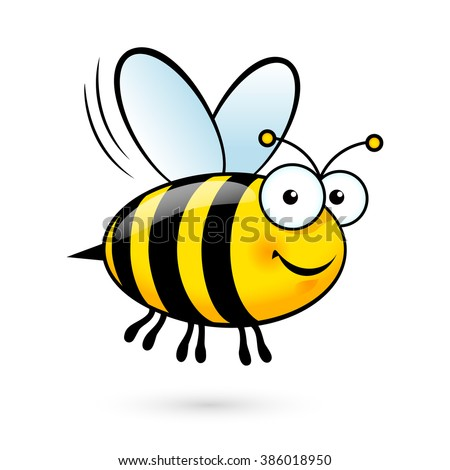 Illustration of a Friendly Cute Bee Flying and Smiling - stock vector
