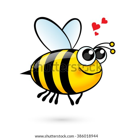 Illustration of a Friendly Cute Bee in Love - stock vector