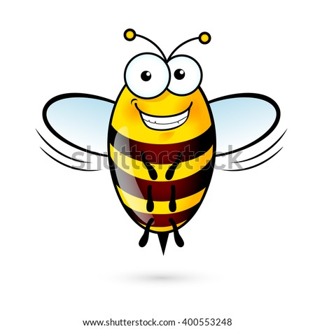 Illustration of a Friendly Cute Bee with Smile - stock vector