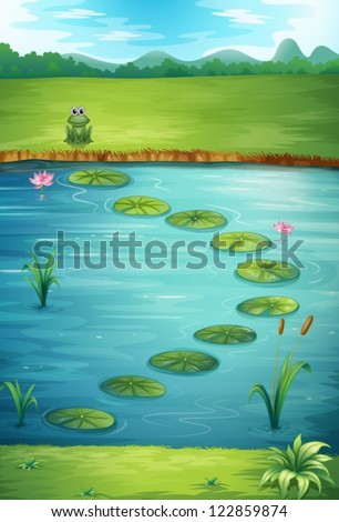 Illustration of a frog and a lake in a beautiful nature - stock vector