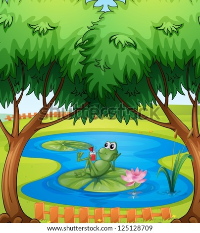illustration frog pond stock vector royalty free 125128709 rh shutterstock com Tree Frog Vector Vector The Crocodile