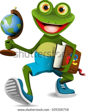 illustration of a frog student with a globe and a book - stock vector