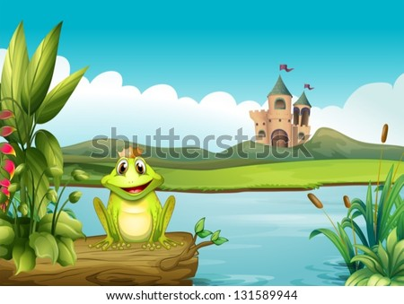Illustration of a frog with a crown at the river - stock vector