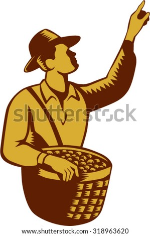 Illustration of a fruit picker fruit worker wearing hat carrying basket full of fruits pointing up set inside on isolated white background done in retro woodcut style. - stock vector