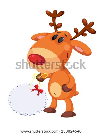 illustration of a funny deer and banner - stock vector
