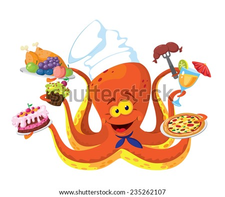 illustration of a funny octopus cook