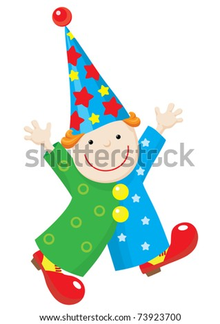 Illustration of a funny puppet clown in stars and circles costume, red shoes and stars hat. Clown run with raised hands and smile. - stock vector