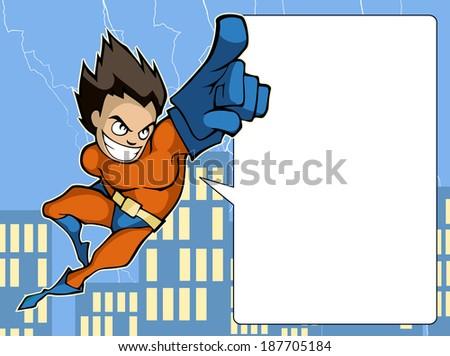 Illustration of a funny superhero in bright costume  - stock vector