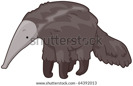 Illustration of a Furry Anteater Looking for Food