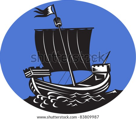 illustration of a galleon tall ship sailing the sea set inside an oval done in retro woodcut style.