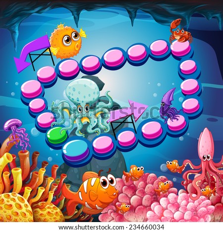 Illustration of a game with under the ocean background - stock vector