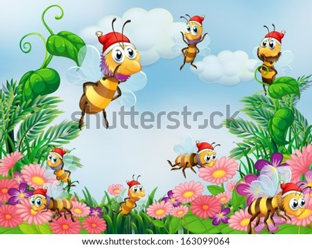 Illustration of a garden with bees - stock vector
