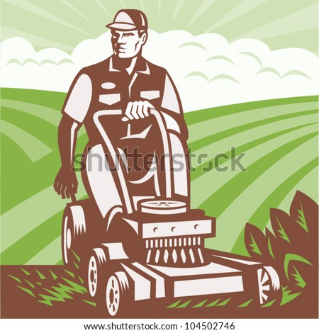 Illustration of a gardener landscaper riding ride-on lawn mower mowing done in retro woodcut style.