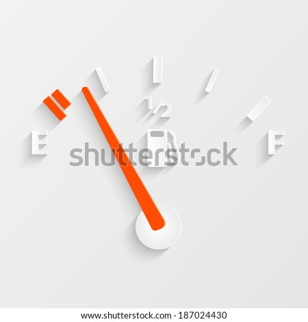 Illustration of a gas gage concept with shadows. - stock vector