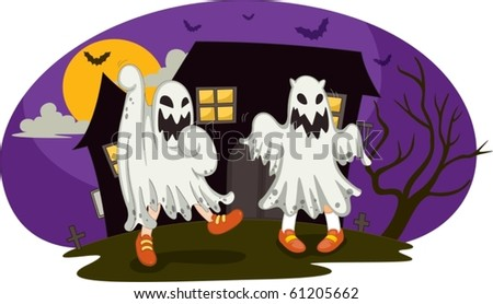 illustration of a ghosts on a white background - stock vector
