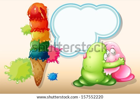 Illustration of a giant icecream beside the two monsters hugging - stock vector