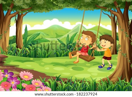 Illustration of a girl and a boy playing at the jungle - stock vector