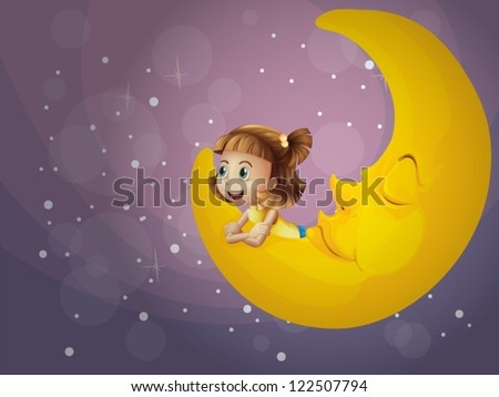 Illustration of a girl and the moon in the night - stock vector