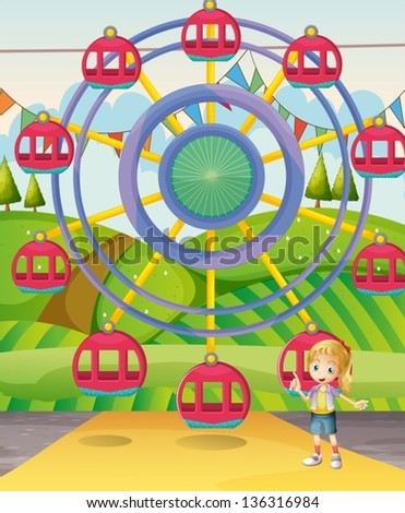 Illustration of a girl below the ferris wheel
