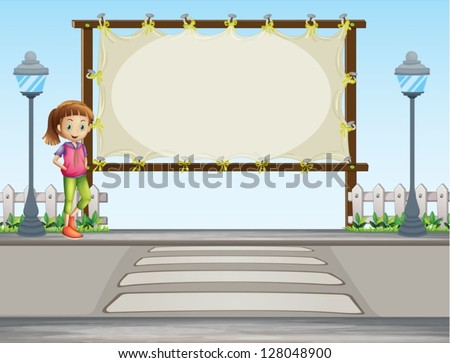 Illustration of a girl beside a blank signage in the street