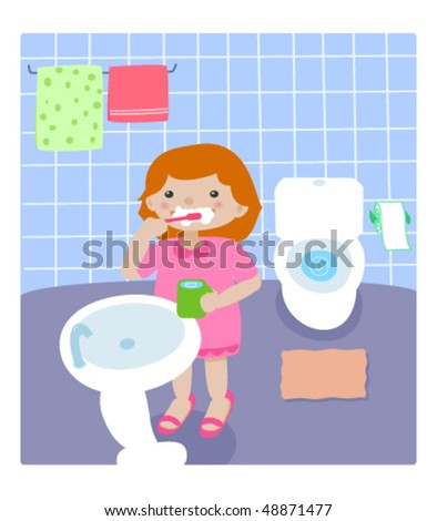 Illustration of a girl brushing teeth in bathroom.Wash before/after bed. - stock vector