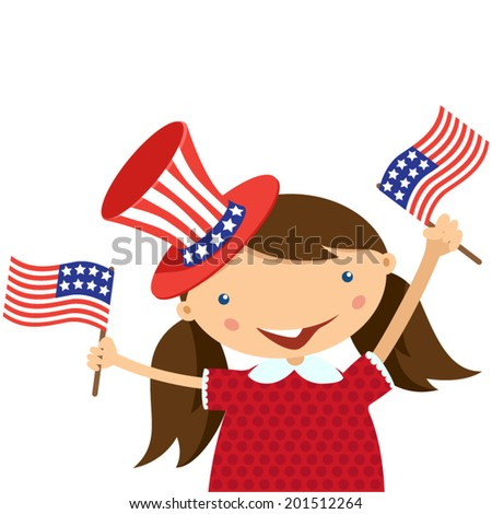 illustration of a girl celebrating Independence Day