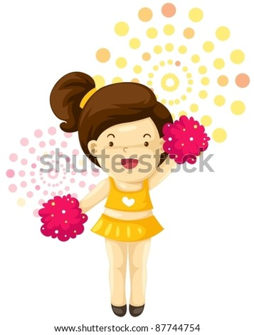 illustration of a girl cheerleader on white background - stock vector