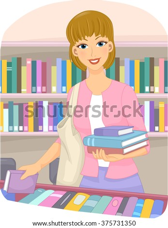 Illustration of a Girl Choosing Books at a Book Store - stock vector