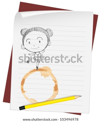 Illustration of a girl drawn on paper - stock vector
