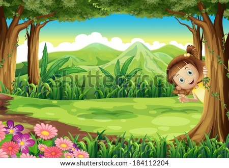 Illustration of a girl hiding at the jungle - stock vector