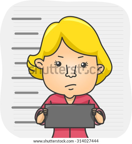 Illustration of a Girl Holding a Name Tag While Her Mug Shot - stock vector