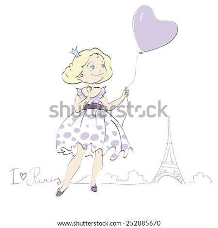 Illustration of a Girl Holding Balloons. I love Paris.   Freehand drawing vector.Can be used for banners, cards, covers, etc. - stock vector